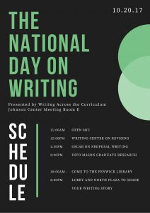 National Day on Writing Schedule - events in JC Meeting Room E and Fenwick Library/North Plaza, 11-2 AM