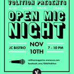 Open Mic Night Nov. 10, JC Bistro, 7–10 PM