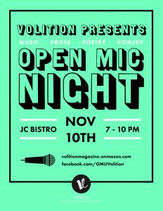 Open Mic Night Nov. 10, JC Bistro, 7–10 PM
